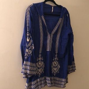 Free People tunic blue hood with embroidery small